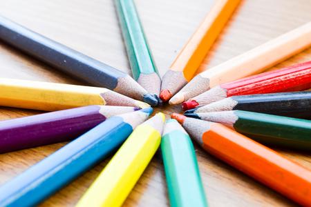 color pencils: color pencils for texture,Back to school concept Stock Photo