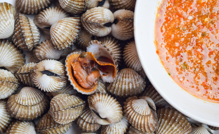 poached: Poached scallop with thai spicy sauce