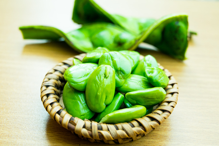 fresh and ripe parkia speciosa or bitter bean, twisted cluster bean, stink bean ( Parkia speciosa., FABACEAE ) Stock Photo