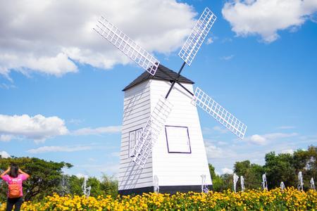 beautiful wallpaper of white windmill farm Stock Photo