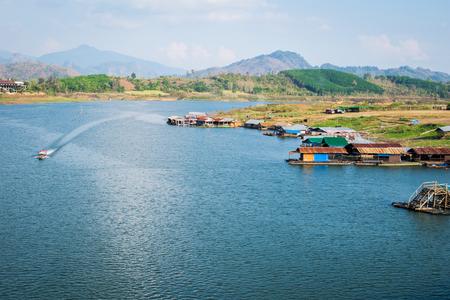 landscape view of boat near river in Kanchanaburi thailand