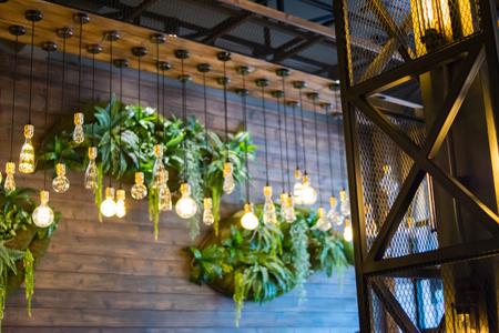 modern lamp in restaurant Stock Photo