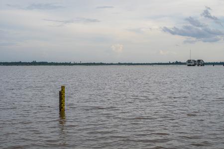 depth measurement: Closeup water level indicators at a river in thailand