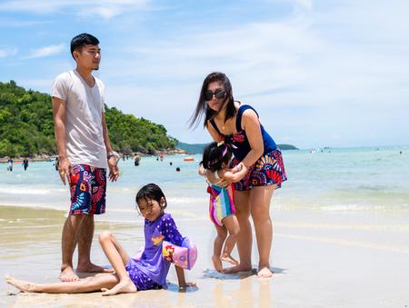 happy family in Sai Kaew Beach on chonburi,THAILAND 2017