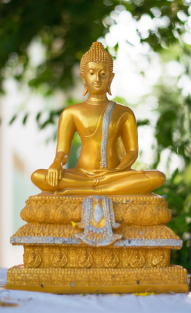 golden buddha statue on green background Stock Photo