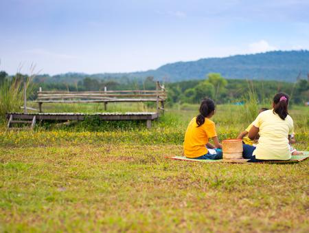 family picnic on mountain view