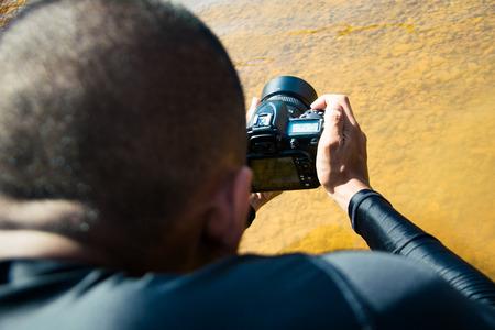 Diver man take a photo Reklamní fotografie