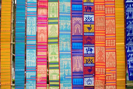 buatiful thai fabric in thai festival background