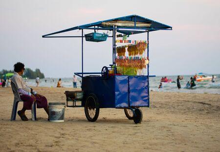 thai woman selling foods on the beach in jantaburi,THAILAND 2019