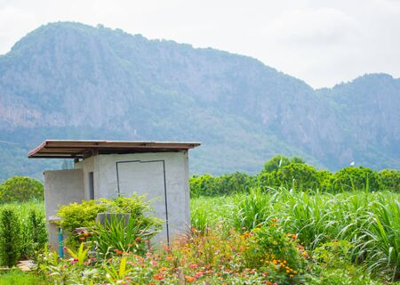 toilet and beautiful mountain view Reklamní fotografie