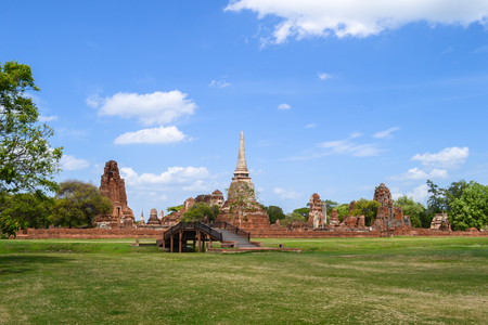 An ancient pagoda on meadow,Ayutthaya Ancient Town of Thailand