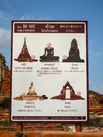 Ayutthaya Ancient Town of Thailand,Prohibition sign for tourism