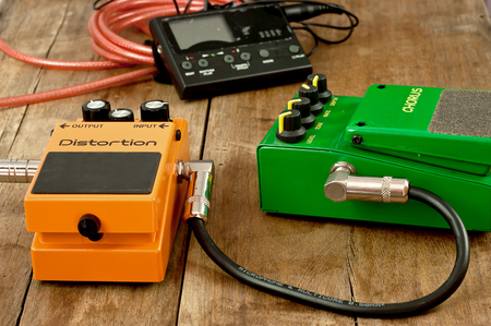 funk music: Effect electric guitar. Electric guitar tuner.