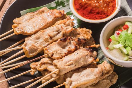 gill: pork satay gill and sauce thai food.