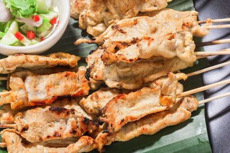 satay pork thai appetizer. Stock Photo