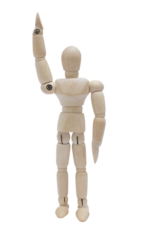 figurine: Wood Mannequin Raise right hand concept on isolate white background. Stock Photo