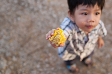 A Little  Asian boy eats corn in his hand. Delicious cheerfully. And is a complete healthy child.