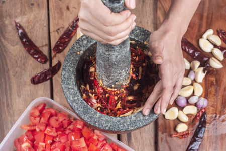 Close up Many types of Chili paste, which are ingredients in the cooking of hot Asia of Thailand, and also has medicinal properties from the research that has been beneficial to the body.
