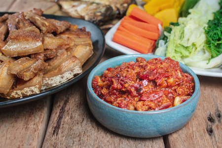 Thai Food menu with Spicy and Delicious food. The weather is perfect in Southeast Asia.