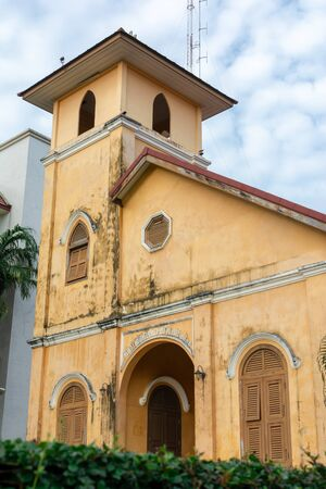 TRANG, THAILAND - June 6, 2018 : Close up historic Christian church Building age over 100 years old  in Trang District, Trang Thailand.