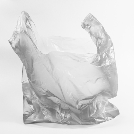 Square Black and White Picture Plastic bag used on White Background.This is the environmental pollution of the world Concept.
