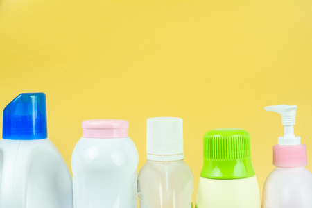 Close up Products made of plastic in everyday life. It is widely used. on yellow background.