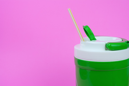 Cold water and drinking straws. with space for text. Reduce the use of plastic water (PET) bottles concept. These can be used several times without wasting natural resources and reducing global warming.