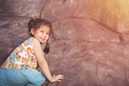 Children's efforts to overcome obstacles by climbing concept In a comfortable dress. Content is winning on various issues. with space fortext.