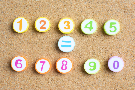 The number of children in kindergarten is 1 to 10 copy space in the middle to put the letter down math symbols concept.