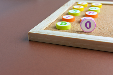 One to Ten letter Toys for Kindergarten children made of erasers And the number 0 stood up Homeschooling Concept.