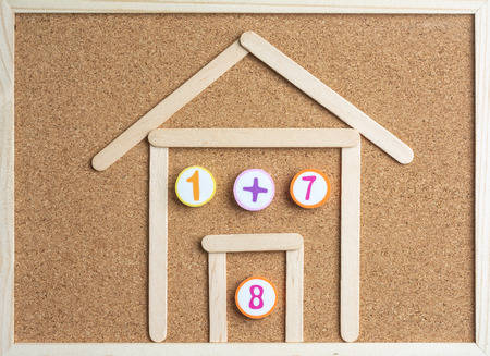 One Plus Saven Equals Eight inside Wooden Ice Cream Stick House ,Using for Homeschooling Concept.