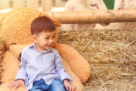 Asian children Boy sit from sheep raising With a brown teddy bear on its side with Space for Text. Фото со стока