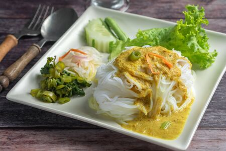 Close up of Thai Rice Noodles and Vegetables on Wihte Plate Asian food for health. Фото со стока