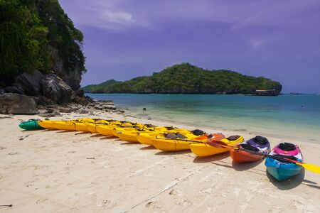 Many boats on the beach of thailand photo