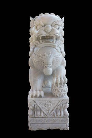Chinese lion statue on the black background