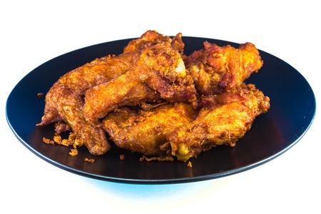 Fried chicken plate on white background