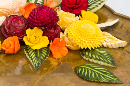 Vegetable and fruit carving Stock Photo