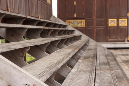 Staircase of Ancient Thai House Stock Photo