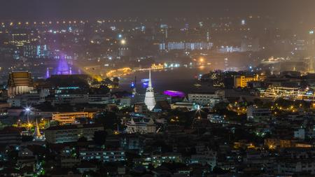 bangkok NIGHT: Bangkok cityscape. Bangkok night view in the business district. at twilight