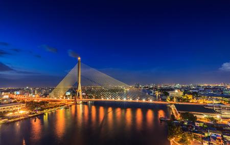 Bangkok,Thailand-Nov 11,Rama VIII Bridge at twilight in Bangkok and Chopraya river, Thailand on Nov 11,2015.