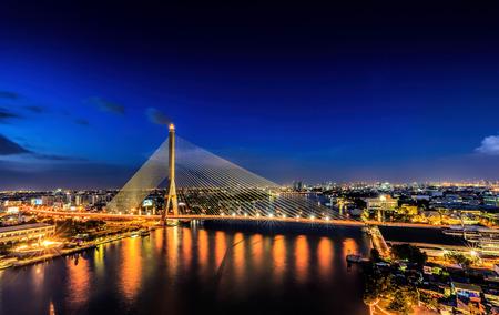 viii: Bangkok,Thailand-Nov 11,Rama VIII Bridge at twilight in Bangkok and Chopraya river, Thailand on Nov 11,2015.