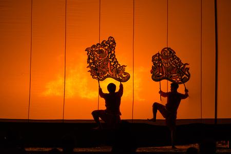 Ratchaburi ,Thailand- April 14, 2017 -The Grand Shadow Play. Thai shadow puppet art at Rachaburi province on April 14,2017. Publikacyjne