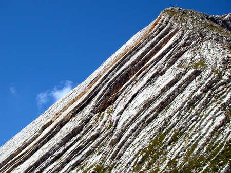 stratification: stratified rock Croda Rossa - Dolomites Stock Photo