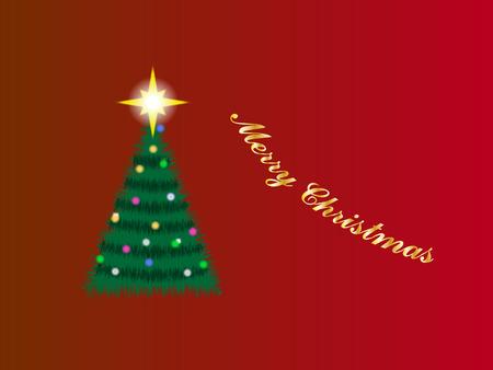 Christmas tree illustration on burgundy background Vector