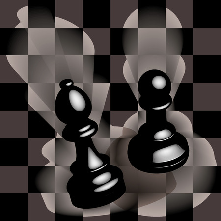 Black pawn and bishop on a chess field