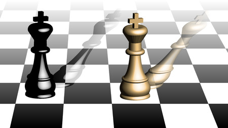 Isometric view of a chess board and kings