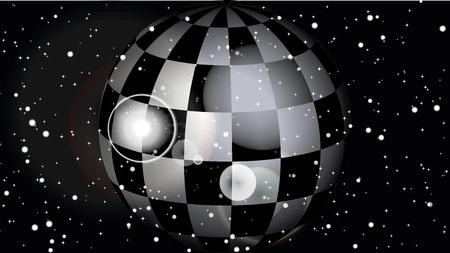 Fantastic scacchi splendente pianeta nell'universo