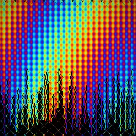Views of a city skyline behind spectral glass