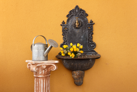 flanked: cast iron wall fountain flanked by a greek ionic column  above  with a watering can to water the roses
