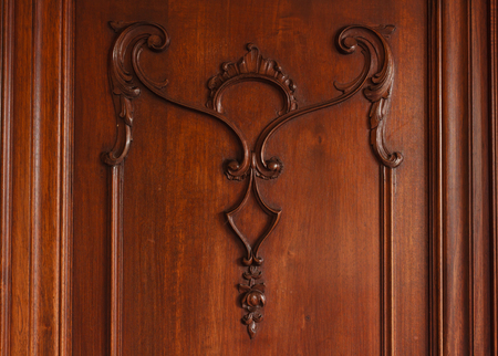 Baroque sculpture of an old  wardrobe made of walnut